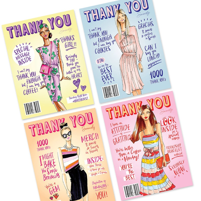 Thank you cards thank you stationary fashion cards thanks image 0