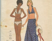 1970 39 s Butterick 6613 Misses 39 Two Piece Swimsuit, Halter Top, Bikini Briefs, Ankle Length Wrap Skirt Vintage Sewing Pattern Bust 34