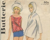 1960 39 s Butterick 3167 Two piece Bathing Suit Blouson Overblouse, Boyshort Briefs, Hooded Cover-up Bust 34
