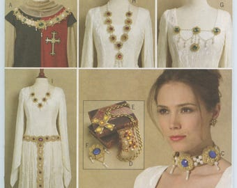 Butterick 5508 Historical Renaissance Medieval Costume Accessories Jewelry Patterns Belt Choker Necklace Brooch Collar  UNCUT