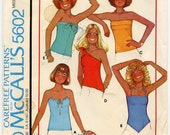 1970s Vintage Sewing Pattern McCall 39 s 5602 Misses Knit Tops Strapless One Shoulder Drawstring Straps Quick Easy Bust 32.5 - 34 UNCUT