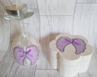 Angel Wings Candle Holder Jewellery Box Set, Wine Glass Candle Holder, Tea Light Holder, Trinket Box, Decoupage Glass, Bedroom Decor,