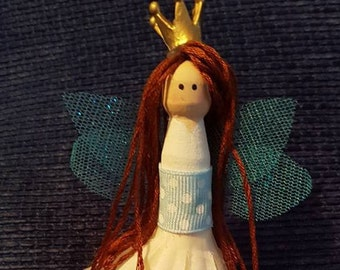 Fairy Princess Wooden Peg Doll - Vintage Wooden Baby Block Stand - New Baby Girl Gift -  Christening Gift - Wooden Fairy - Dolly Peg