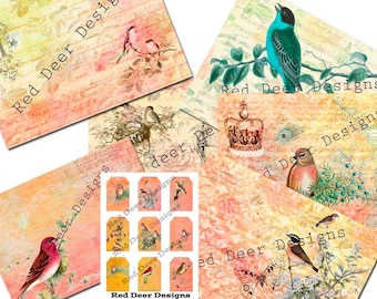 Digital Printable Journal Pages and Kit Sweet Song Birds
