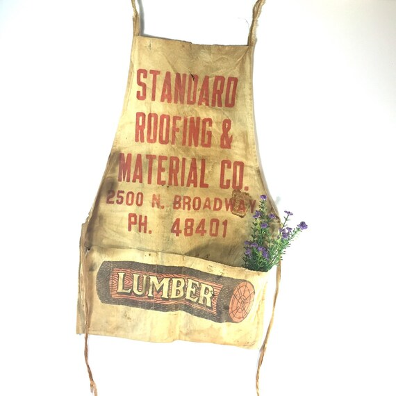 Vintage Lumber Apron, Primitive Apron