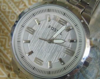 Mens Fossil quartz PR 5390 all stainless steel, running