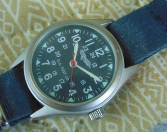Mens O A Post Military style Swiss quartz wristwatch running with NATO style strap