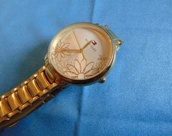 Ladies Hilfiger Leila Model Quartz Watch, Gold Tone, Running