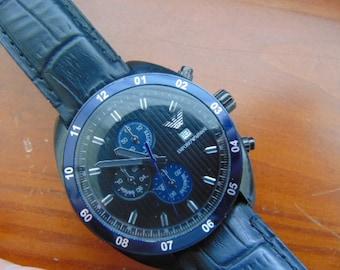 Mens Emporio Armani Sportivo Quartz Chronograph AR 5916 Black Stainless Steel