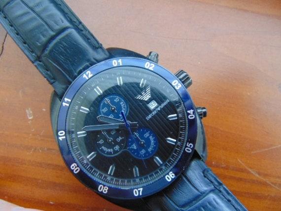 uk availability 9ce17 fa950 Mens Emporio Armani Sportivo Quartz Chronograph AR 5916 Black Stainless  Steel