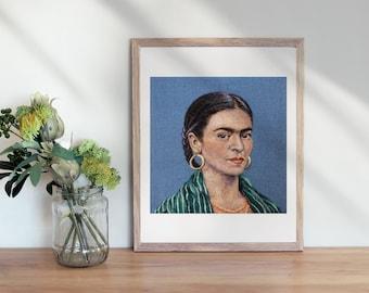 Frida Kahlo 8 x 10 inch Giclee Print of Needle felted portrait , Frida Kahlo Fiber Art