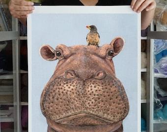 Hippo Portrait and Oxpecker Companion Giclee Art PRINT, 11x14 or 16x20