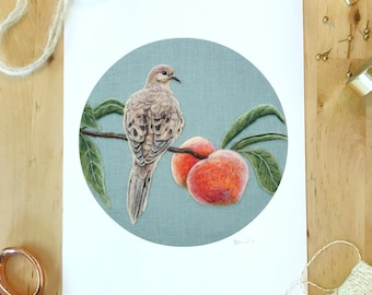 """Mourning Dove and Peaches - 8"""" x 10"""" Giclee Print of a Needle Felted Wool Painting - Fiber Art"""