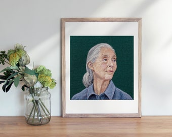 Dr. Jane Goodall - 8 x 10 inch Giclee Art Print of Needle felted portrait