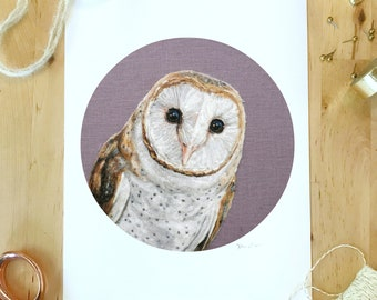 """Silo the Barn Owl - 8"""" x 10"""" Giclee Art Print of a Needle Felted Wool Painting"""