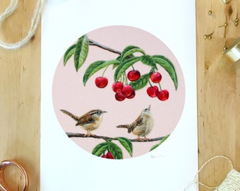 Wrens & Cherries - 8 x 10 Giclee Print of a Needle Felted Wool Painting - Fiber Art
