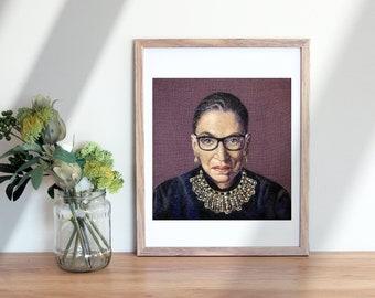 RBG  8 x 10 inch Giclee Print of Needle felted portrait , Ruth Bader Ginsburg Fiber Art