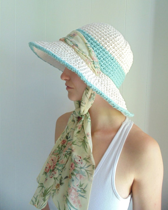 Crochet PATTERN - Seaside Sunhat - Extra Wide Brim with Scarf Tie d7784f1981a