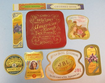9 Antique Dr. Lynas JBL Labels, NOS, Cosmetic, Beauty, Vanity, Scrapbook, Collage, Paper Label, Papercrafts