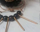 Bronze Cutter Pins Leather Cord Necklace