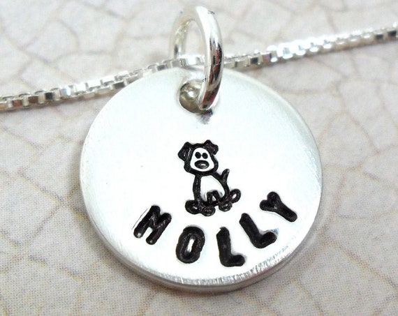 Pet Necklace | Custom Pet Name Necklace | Dog Necklace | Cat Necklace | Pet Jewelry | Pet Lover | Sterling Silver Disc | Love my pet