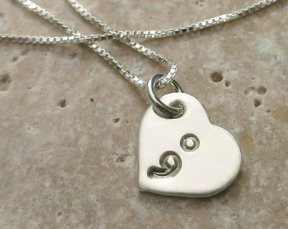 Semicolon Necklace | Suicide Awareness | Suicide Prevention | Semi colon Jewelry | Sterling Silver Heart