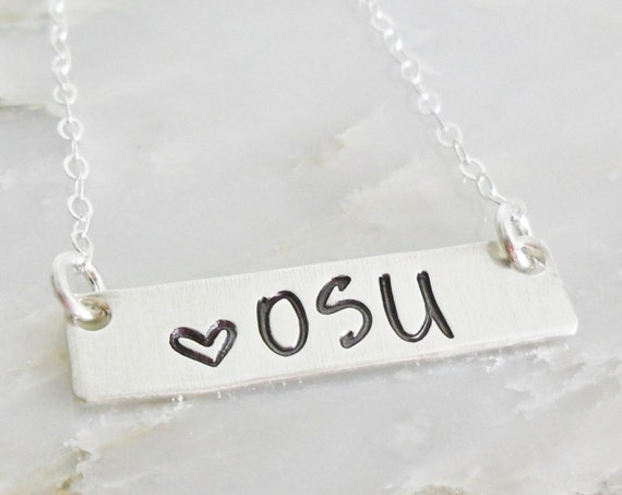 OSU Jewelry | Ohio State Necklace | OSU Fan | Gift for College Student | Custom College Necklace | Sterling Silver Bar Necklace