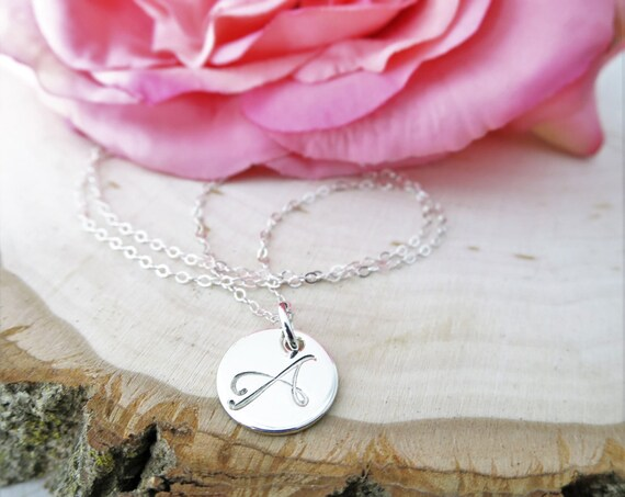 Script Initial Necklace | Sterling Silver Initial Necklace | Initial Jewelry | Personalized Initial Necklace | Silver Monogram Jewelry