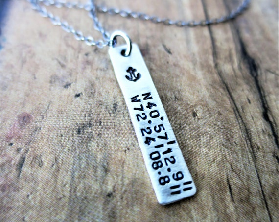 Latitude Longitude Jewelry | Coordinates Necklace | Latitude Longitude Necklace | Silver Bar Necklace | Anchor Jewelry | Engraved Jewelry