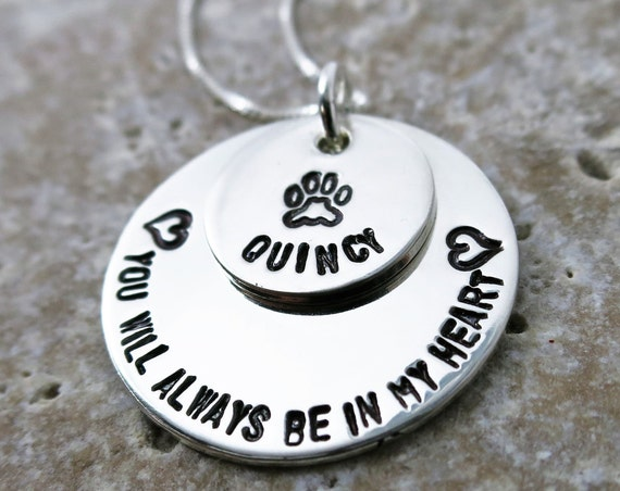 All Dogs Go to Heaven   Custom Pet Remembrance Necklace   Sterling Silver   Stacked Necklace   Custom   Personalized   Pet Lover   Pet Mom
