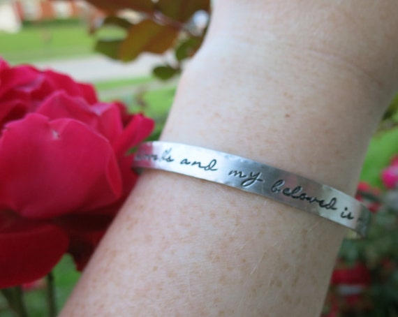 Custom Pewter Cuff Bracelet - Pewter Cuff - Personalized Cuff Bracelet - Organic Jewelry - I am my beloved's and my beloved is mine