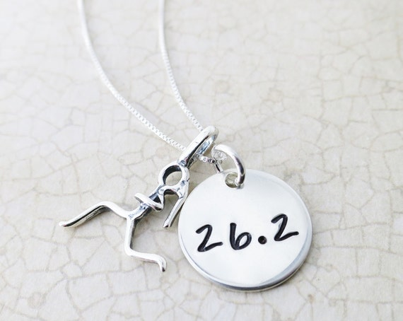 Marathon Necklace / Half Marathon Necklace / Runner Girl / Runner Necklace / 26.2 / 13.1 / Runner Gift / Marathon Gift / Sterling Silver