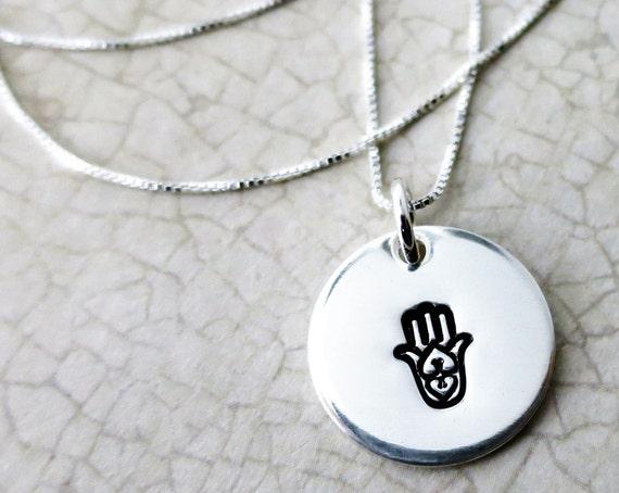 Hamsa Necklace - Sterling Silver Hamsa - Hand Stamped Hamsa Necklace - Imprinted Hamsa - Engraved Hamsa