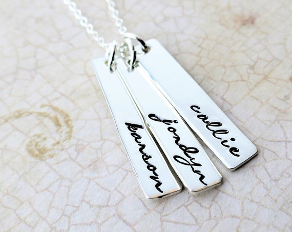 Custom Name Necklace | Personalized Jewelry | Family Jewelry | Gift for Mom | Gift for Grandma | Sterling Silver | Hand Stamped