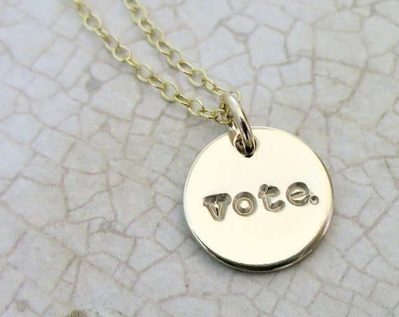 Vote. | Vote Jewelry | Vote Necklace | Democratic | 14k Gold Filled | Hand-stamped jewelry |