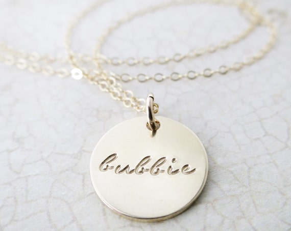 Bubbie Necklace | Bubbie Jewelry | Bubbe Jewelry | Jewish Grandma | Jewish Grandmother | Gold Fill Disc | Gold Fill Pendant | Hand Stamped