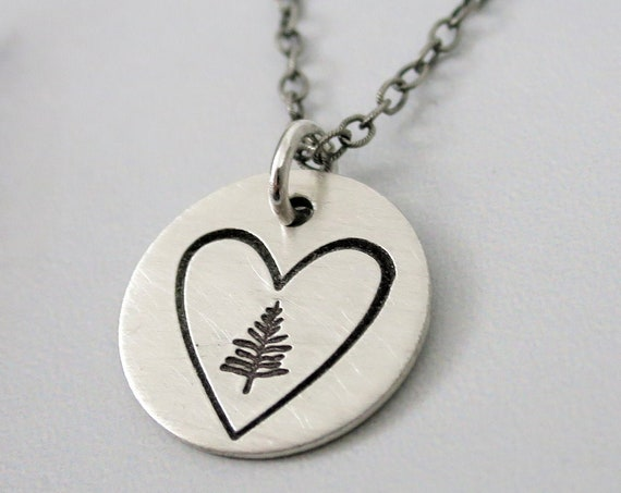 Evergreen Necklace | Rustic Evergreen Necklace | Heart Necklace | Sterling Silver Necklace | Organic Jewelry | Nature Lover | Forest