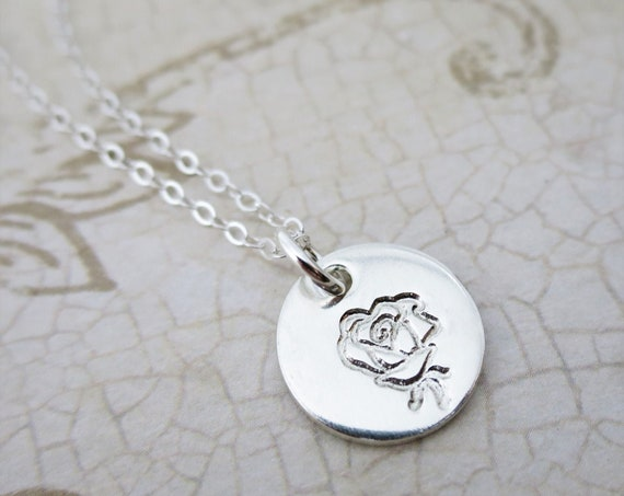 Rose Pendant Necklace | Sterling Silver Rose Jewelry | Dainty Necklace | Layering Necklace | Hand Stamped | Romantic Jewelry | Floral