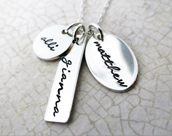 Personalized Name Jewelry | Family Charm Necklace | Three Names | Sterling Silver | Hand Stamped Jewelry | Script font | Handwriting font