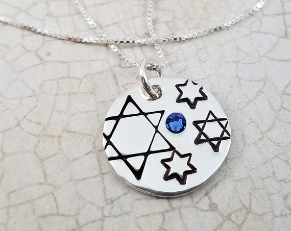 Ready to Ship | Judaica Stars & Sparkles Collection | Jewish Star Necklace | Sterling Silver | Swarovski Crystal | Hand Stamped
