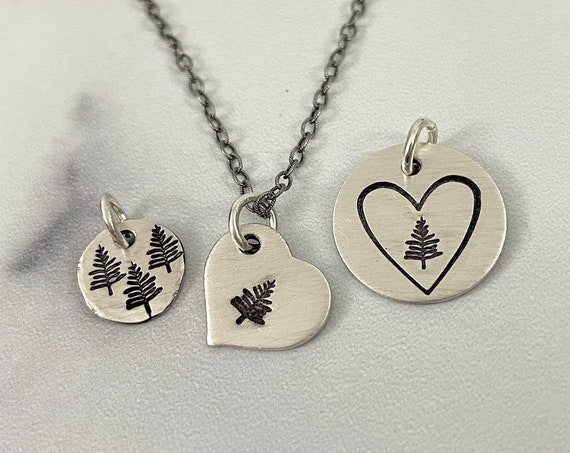 Heart Evergreen Necklace | Rustic Evergreen Necklace | Heart Shaped Necklace | Sterling Silver Necklace | Organic Jewelry | Nature Lover