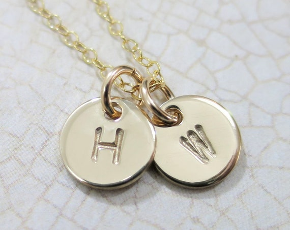 Tiny Disc Necklace   Small Gold Pendants   Initial Necklace   Initial Jewelry   Monogram   Petite Discs   Hand Stamped   14k Gold Filled