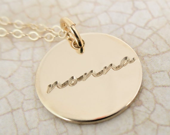 Nonna Necklace | Nonna Jewelry | 14k Gold Filled Pendant Necklace | Hand Stamped Jewelry | Grandma | Bubbe | Nana | Gift for Grandma
