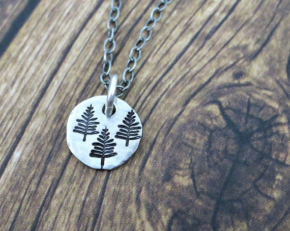 Tiny Trees Necklace | Rustic Evergreen Necklace | Sterling Silver Necklace | Organic Jewelry | Nature Lover | Gift for Hiker | Forest
