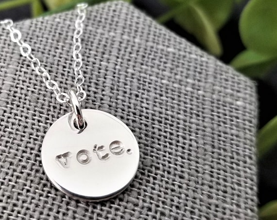 Vote. | Vote Jewelry | Vote Necklace | Democratic | Sterling Silver | Hand-stamped jewelry