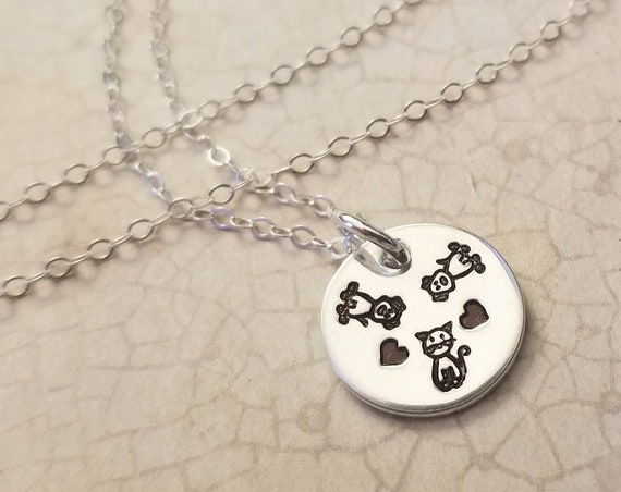 Custom Pet Necklace / Pet Lover Jewelry / Sterling Silver Pendant Necklace / Dog Necklace / Cat Necklace / Gift for Pet Mom