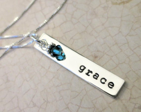 Name Necklace | Sterling Silver Bar Necklace | Typewriter Font | Personalized Jewelry | Birthstone