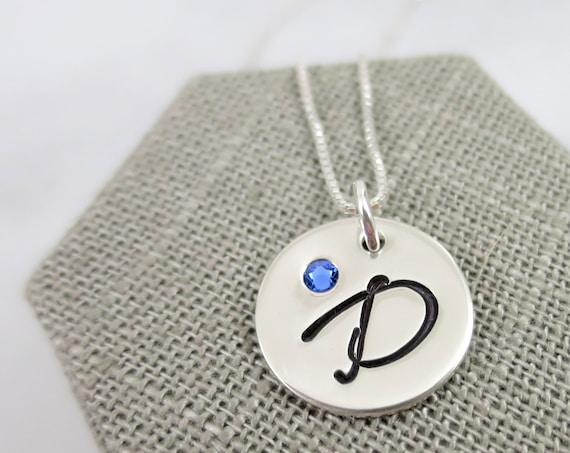 Initial Necklace with Birthstone | Sterling Silver Initial Jewelry | Swarovski Crystal Birthstone | Embedded Crystal | Birth Month Jewelry
