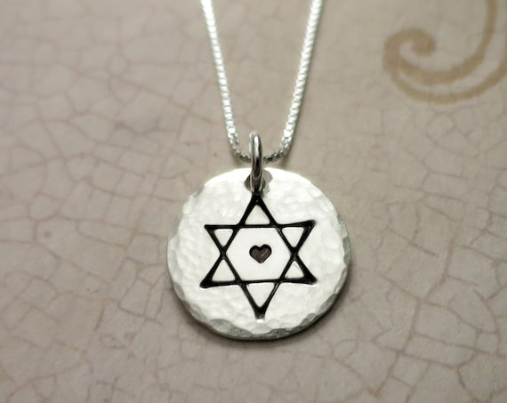Star of David Necklace | Jewish Star Necklace | Hand Stamped Magen David | Sterling Silver Star of David Necklace | Jewish Star with Heart