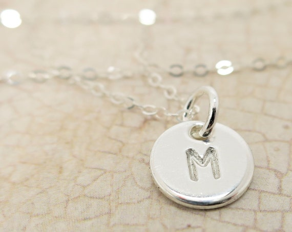 Initial Necklace | Tiny Sterling Silver Pendant Necklace | Small Initial Necklace | Small Monogram | Personalized Necklace | Custom Gift